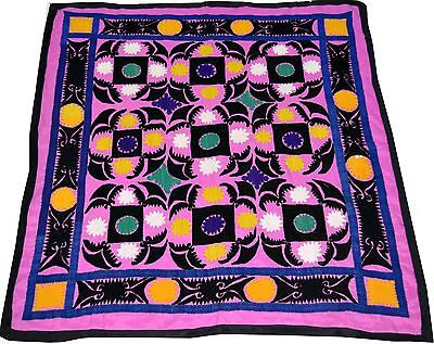 U10 Old Handmade Silk Embroidered Vintage Suzani Antique Embroidery Wall Hanging