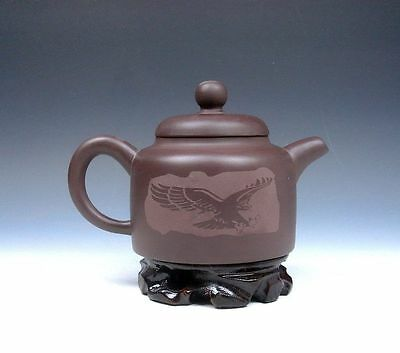 *Ship From U.S* Chinese Zisha Pottery Flying Eagle Hand Crafted Teapot w/ Stand