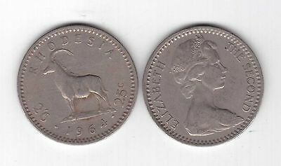 RHODESIA - 2-1/2 SHILLINGS = 25 CENT COIN 1964 YEAR KM#4