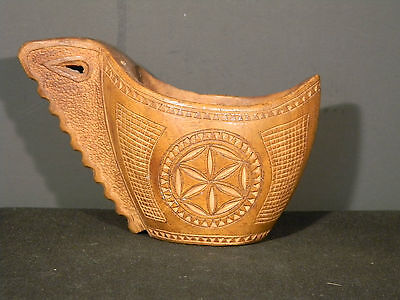 Wooden Vessel With handle over 4 inches wide (2942)