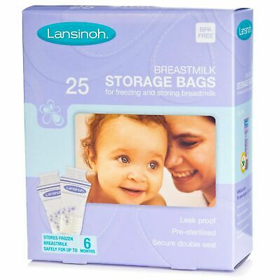 Lansinoh Milk Storage Bags Tissue Pack Dispenser of 25 Double Zipper BPA Free