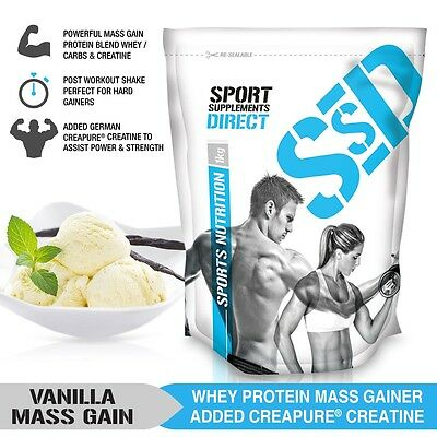 2Kg Vanilla Mass Gainer - 1:1 Whey Protein Carb Ratio Mass Gain With Creapure