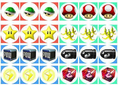 Mario Bros 1 Item Cupcake Edible Icing Party Cake Topper Decoration Image