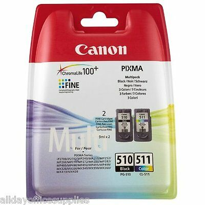Original Canon PG510 Black & CL511 Colour Ink Cartridge For PIXMA Printers