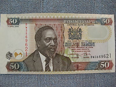 Kenya 50 Shillings Banknote, UNC,  Camels, Animal, paper money, Lion watermark!