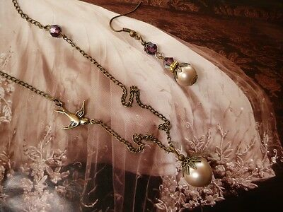 Swallow Pearl SET Artisan Vintage Antique Champagne Amethyst Necklace Earrings