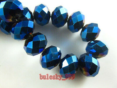 3~12MM Faceted Rondelle Loose Finding Glass Crystal Beads Metal Blue Plated