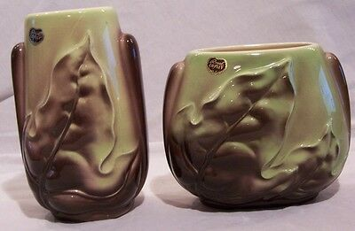 Vintage Royal Copley Matching Vase Two Piece Set Green Brown Leaves Lovely