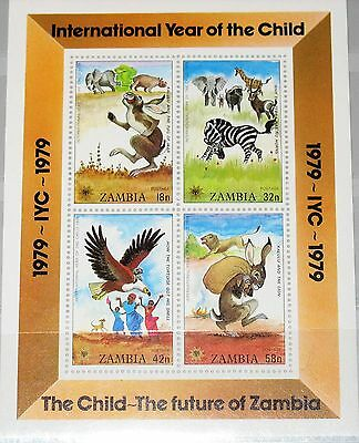 ZAMBIA SAMBIA 1979 Block 5 S/S 199a Year of the Child Animals Tiere Painting MNH