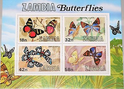 ZAMBIA SAMBIA 1980 Block 10 S/S 223a Schmetterlinge Butterflies Insects MNH