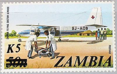 ZAMBIA SAMBIA 1985 329 319 Flying Doctor Service Aircraft new currency ovp MNH
