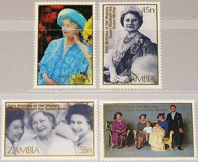 ZAMBIA SAMBIA 1985 337-40 327-30 Queen Mother Elizabeth 85th Roval Birthday MNH