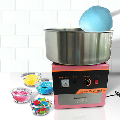 Electric Candy Floss Making Machine Cotton Sugar Maker stainless Steel Bowl Pink
