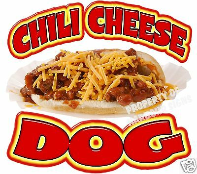 """Chili Cheese Dog Decal 12"""" Hot Dogs Concession Food Truck Cart Vinyl Sticker"""