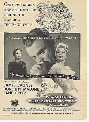 James Cagney Dorothy Malone MAN OF A THOUSAND FACES Movie Print Ad Advertisement