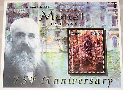 ZAMBIA SAMBIA 2001 Block 88 S/S 952 Claude Monet Paintings Gemälde Kunst MNH