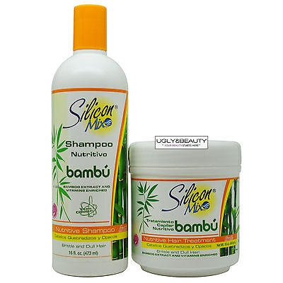 Silicon Mix Bambu Bamboo Nutritive Shampoo & Hair Treatment 16 Oz. Duo