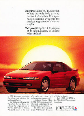 1992 Mitsubsihi Eclipse - Sunset - Classic Vintage Advertisement Ad D111