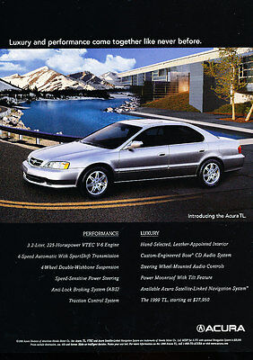 1999 Acura TL - Lake - Classic Vintage Advertisement Ad D112