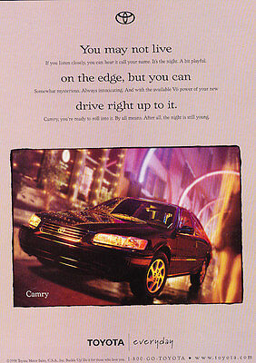 1998 Toyota Camry - Edge - Classic Vintage Advertisement Ad D112