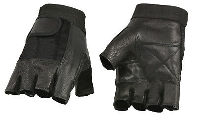 Men's Leather & Mesh Fingerless Glove for Motorcycle, Truckers or Weightlifting