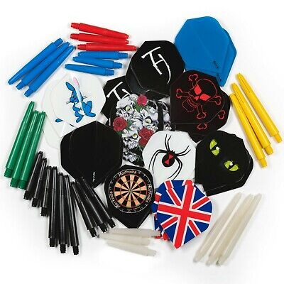 30 DARTS FLIGHTS + 30 DARTS STEMS SHAFTS MIXED COLOURS / SIZES - 10 Sets of Each