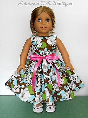 "Green, Brown & White Flower Print Dress Fits 18"" American Girl Doll Clothes"