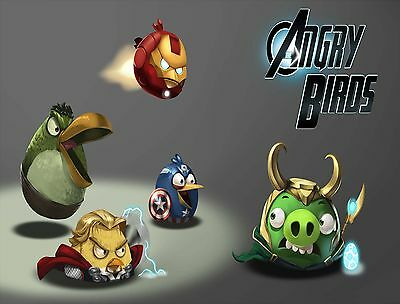 Angry Birds Avengers Edible Icing Party Cake Topper Decoration Image Custom