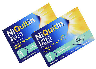 NiQuitin 21mg Clear 24 Hour 7 Patches Step 1 Pack of 2