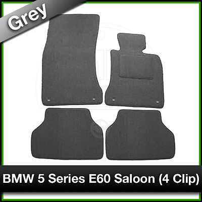 Tailored Fitted Carpet Mats BMW 5 SERIES E60 SALOON 4 Clip (2003 - 2010) Grey