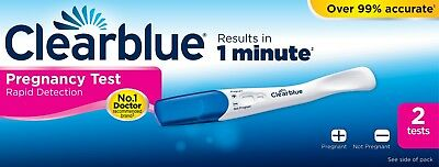 2 x CLEARBLUE PLUS PREGNANCY Urine Testing Kits - Colour Change Tip Test Sticks