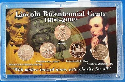 2009 Uncirculated  Abraham Lincoln Birth Bicentennial Pennies in Gift Case +2010