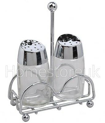 Salt And Pepper Pot Shaker Glass Jar  With Stainless Steel Stand Rack Holder 156