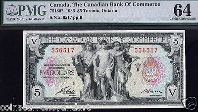 Canadian Bank of Commerce $5 1935  PMG 64 Uncirculated