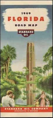 1949 STANDARD OIL OF KENTUCKY Lake Wales Road Map FLORIDA Excellent Condition!