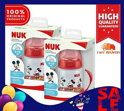 Nuk Minnie First Choice 150ml Learner Bottle-Red (Pack of 2)