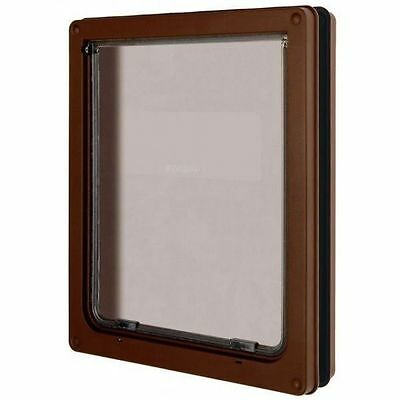 Dog Mate Large Pet Door Flap Brown Suitable For Cats & Dogs Security Panel 216B