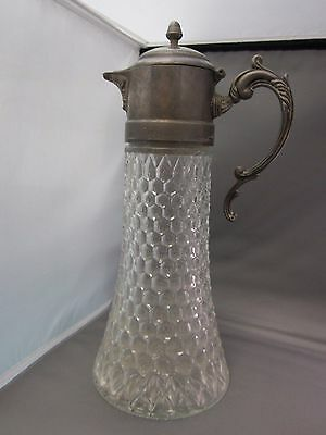ANTIQUE SILVERPLATE AND GLASS WATER/WINE TALL PITCHER