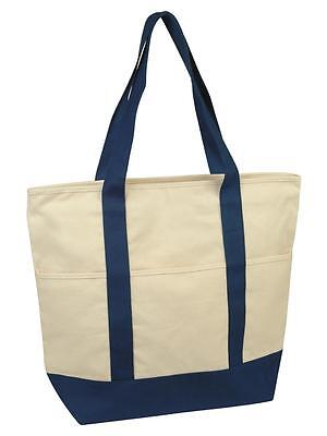 Wholesale Lot 12 Deluxe Zippered Canvas Tote Bags, Handbag, Shopping bag -New