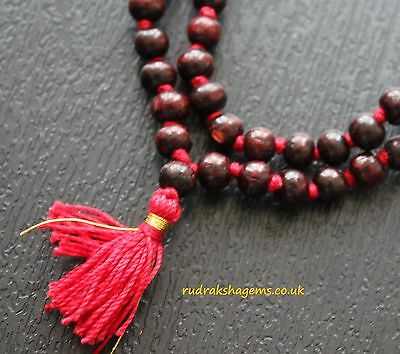 Rare Red Sandalwood 8 mm Mala 108 + 1 Bead Hindu Japa Meditation Necklace Rosary