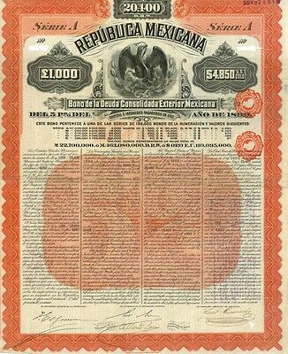 The Holy Grail Of Mexico Gold Bonds! 1899 Series A $4850/£1000 Guar By Jpmorgan!