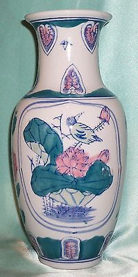 Vintage ~ Beautiful Chiese Ceramic Flower / Bird Vase ~ Estate Collectable