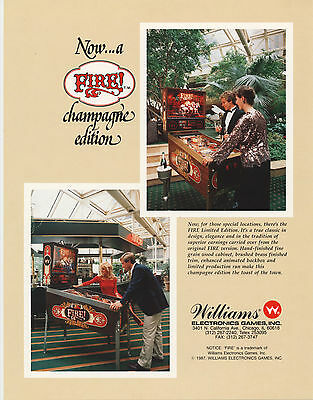 1987 Williams Fire! Champagne Edition Pinball Flyer