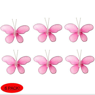 MINI BUTTERFLIES SMALL Pink Wire Hanging Nylon Butterfly Decor ...
