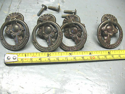 Nouveau   Steel Drawer  Pulls (4)   Antique  Original Complete  Super !!!