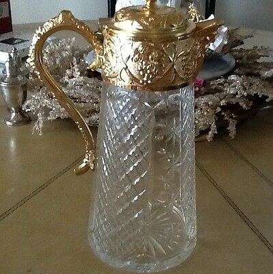 Gold With Hand Cut Glass Dazzling Wine Pitcher Decanter With Cover Antique Wow