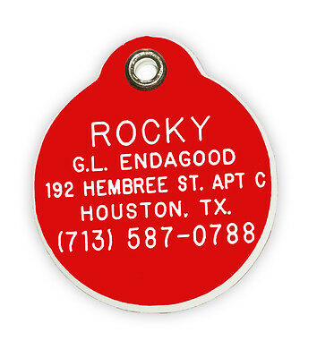 Round Shaped Pet Tag - Acrylic Plastic Medium Personalized Reflective 6 Colors