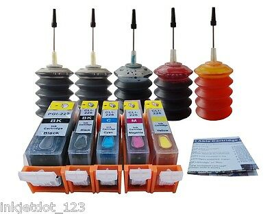Refillable cartridges+5x30ml ink for Canon PGI-225 CLI-226 MG5120 MG5220 MG5320