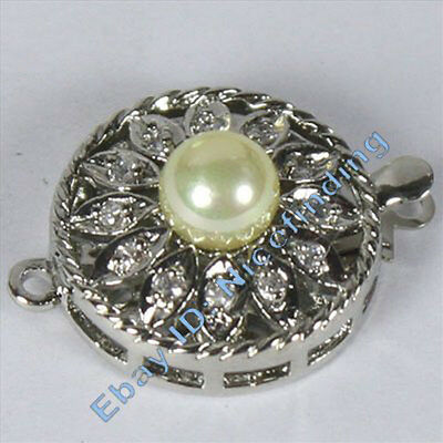 AAA Grade White Gold Plated Crystal & Shell Pearl Clasp