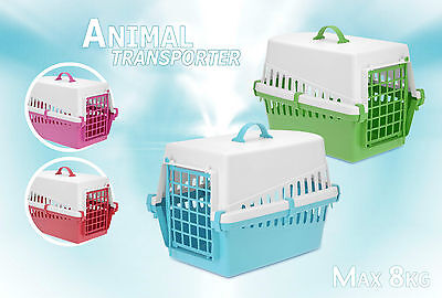 Plastic Pet Carrier Transporter Basket 4 Colours To Choose From